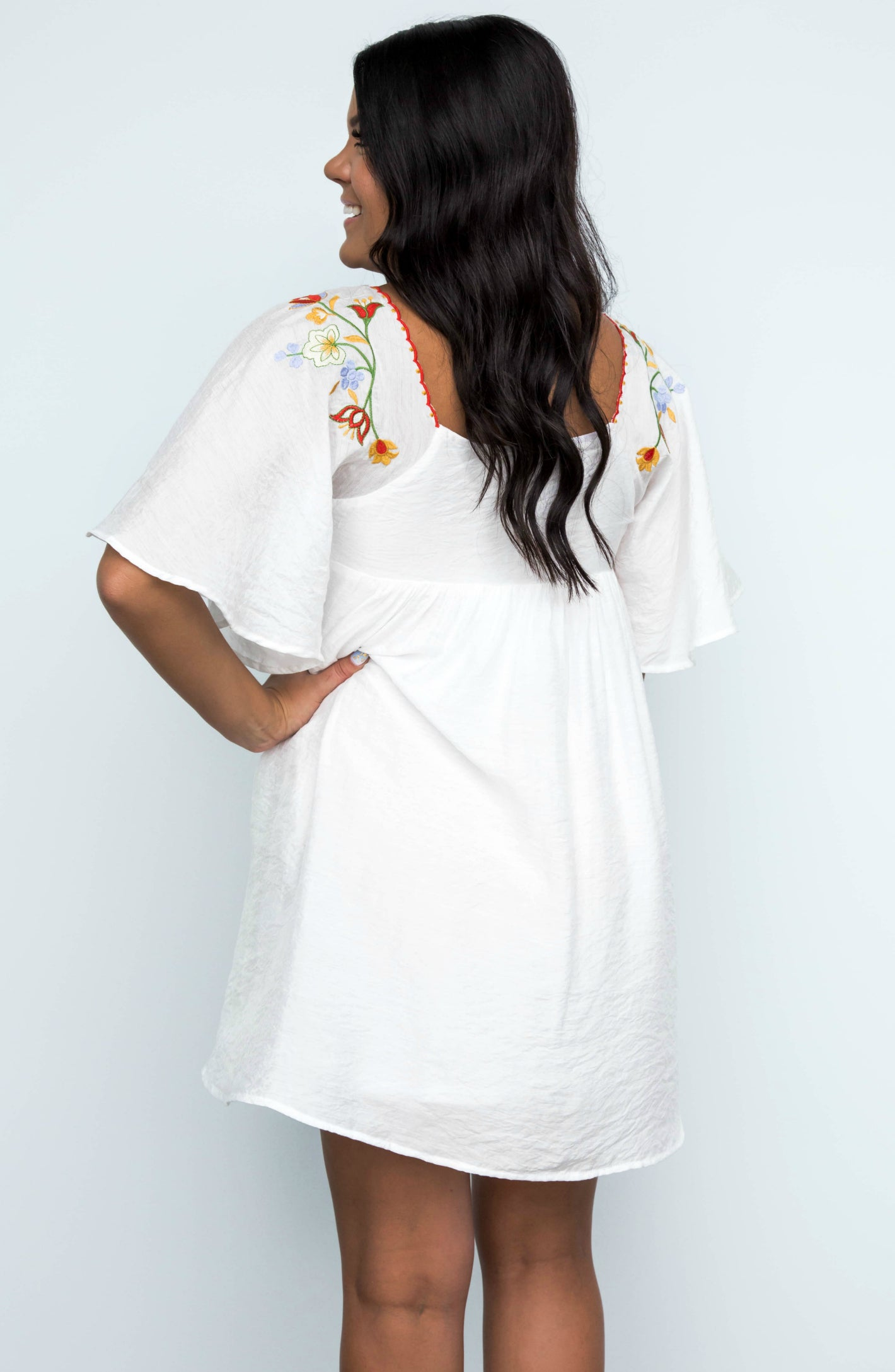 Divine Days Floral Embroidered Bell Sleeve Babydoll Mini Dress