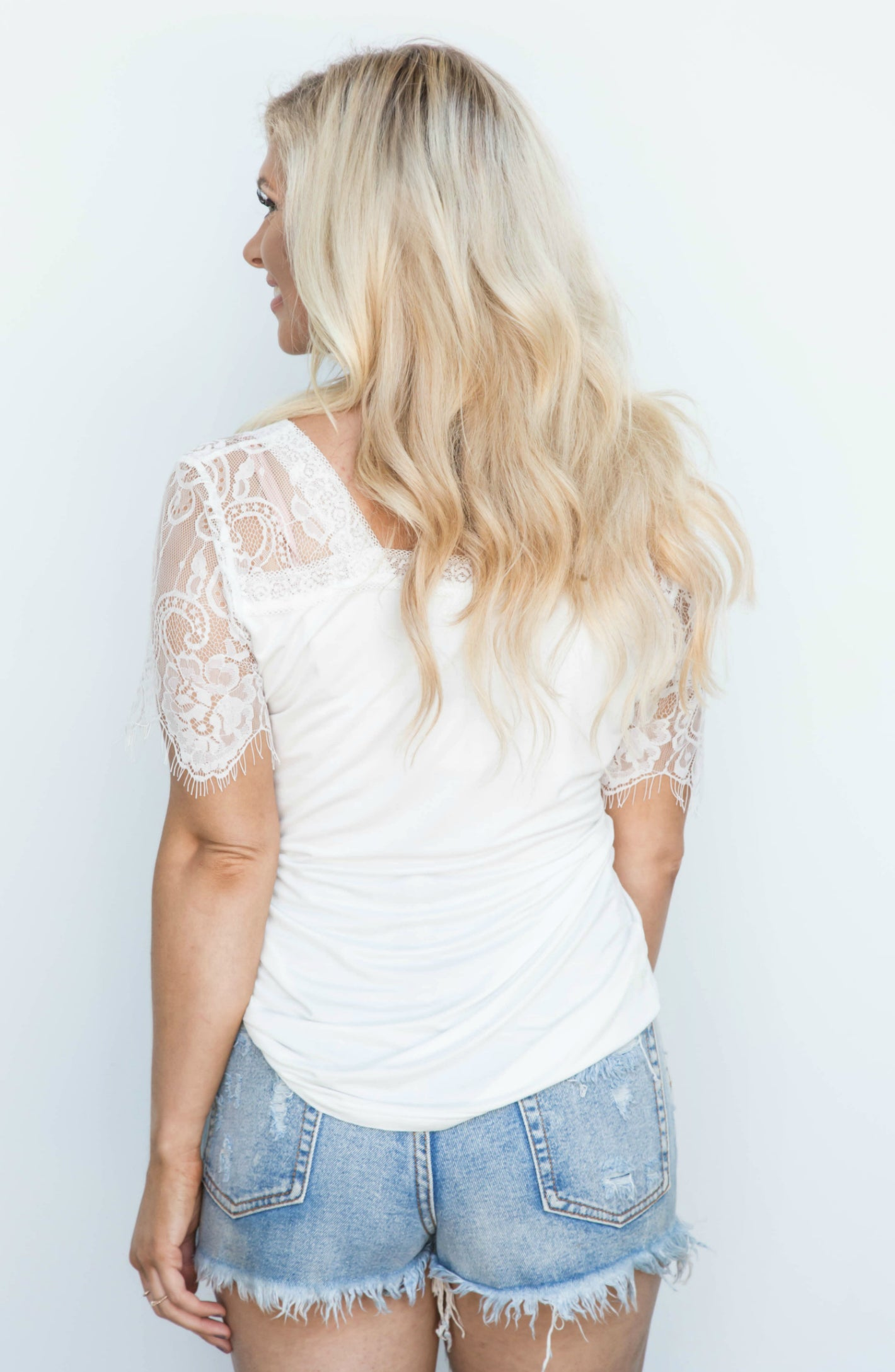 Lace To The Top Ivory Lace V-Neck Top