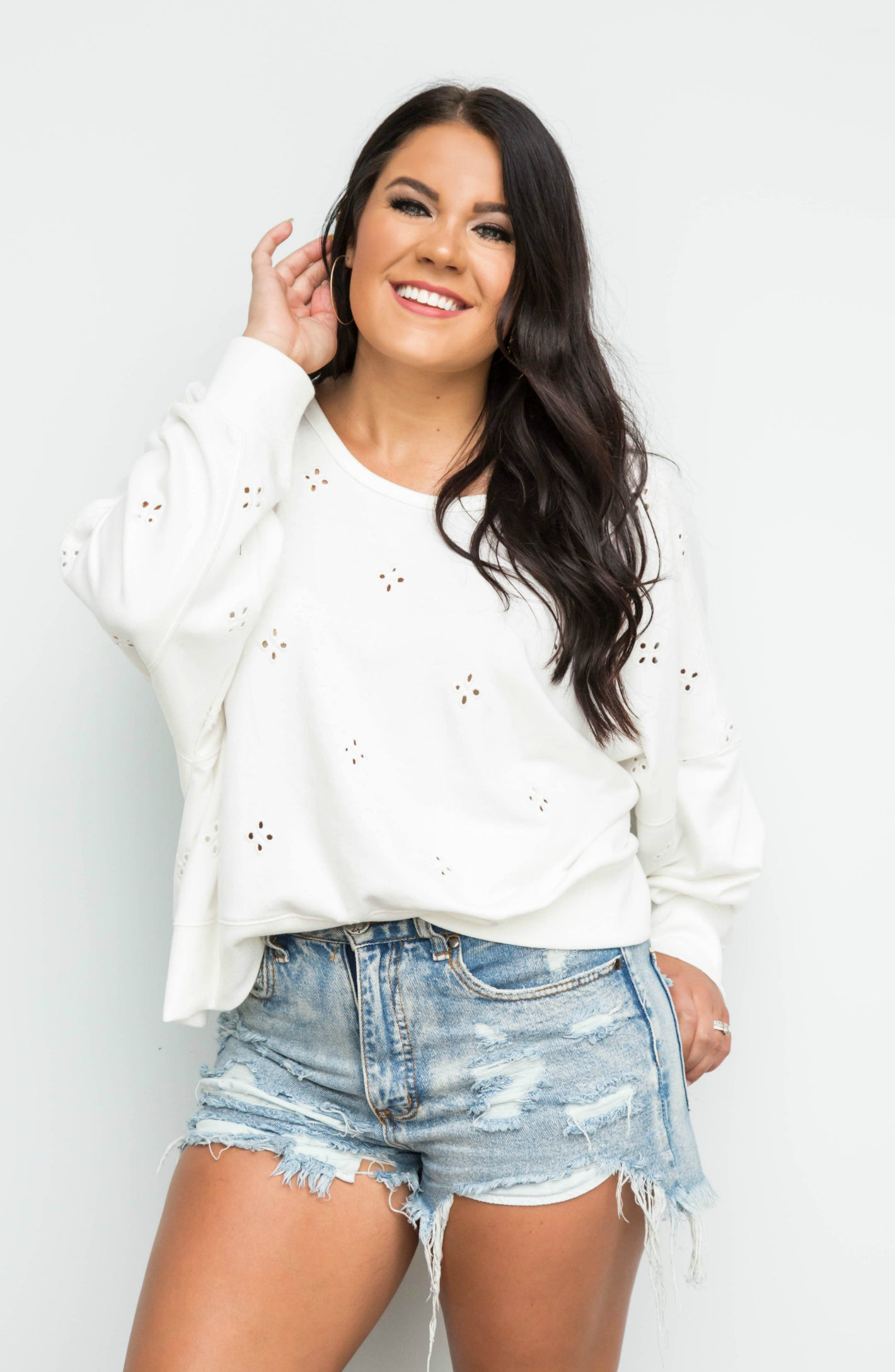 Let Your Heart Go Embroidered Eyelet Oversized Pullover Top With Open Back Detail