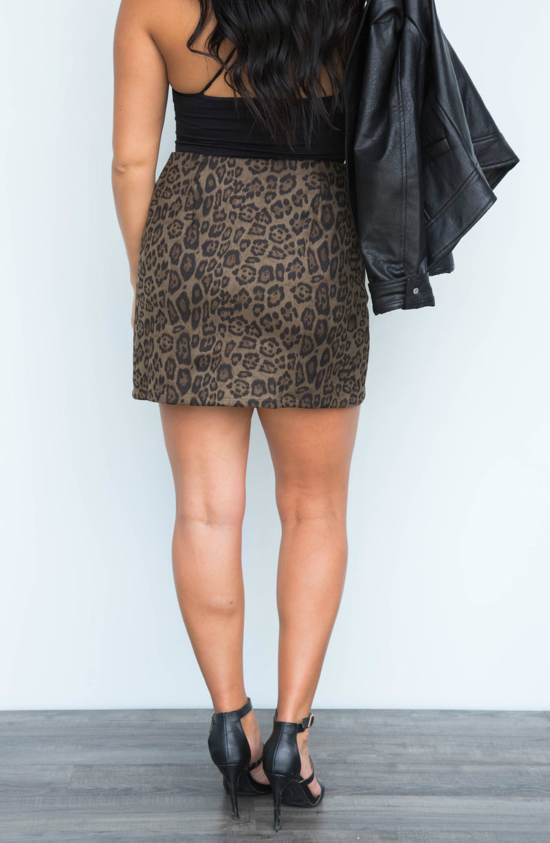 Thrilled To See You Olive Leopard Mini Skirt