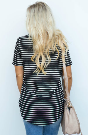 Pave The Way Black With White Stripes Top