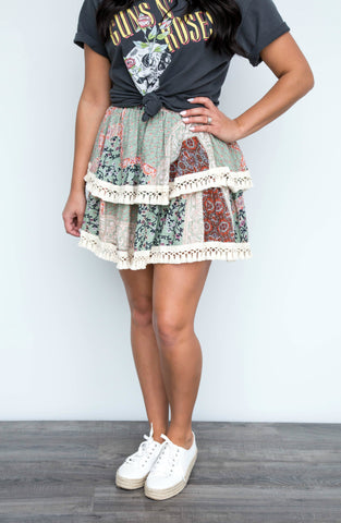 Days In Taupe Ruffle Detailed Wrap Mini Skirt