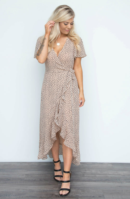 You Dot It Good Polka Dot Wrap V Neck Maxi Dress - 2 Colors