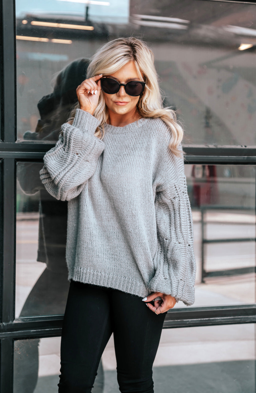 Roll With It Heather Grey Crochet Bell Sleeve Sweater