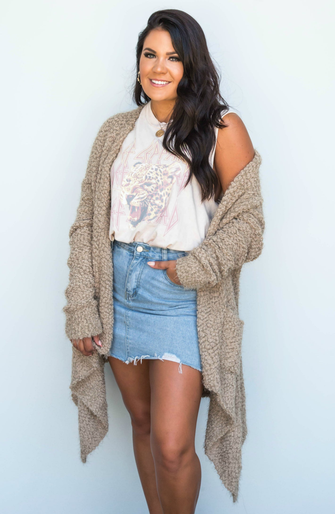 So In Love Fuzzy Open Knit Cardigan - 5 Colors