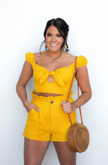 Opposites Attract Mustard Eyelet Two Piece Short Set