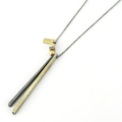 Taper Silver and Gold Dangle Necklace