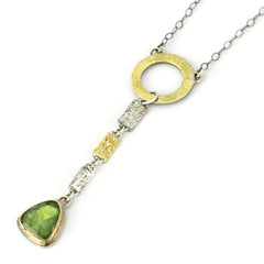 Green Tourmaline Circle Confetti Necklace