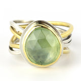 Custom Prehnite Calm & Chaos Ring with 18K Gold