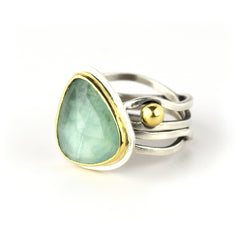 Aquamarine 18K Gold and Silver Calm and Chaos Ring