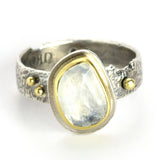 Rainbow Moonstone Reef Ring with 18K Gold