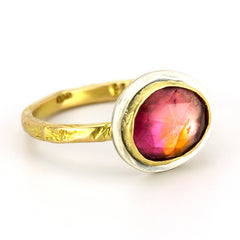 Pink and Tangerine Rustic Gold Band