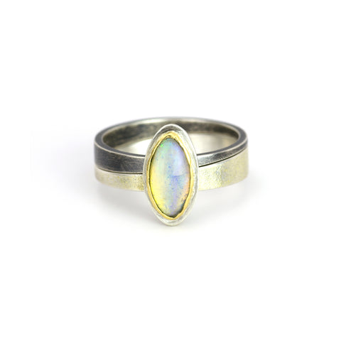 Opal Oblique Stacking Rings
