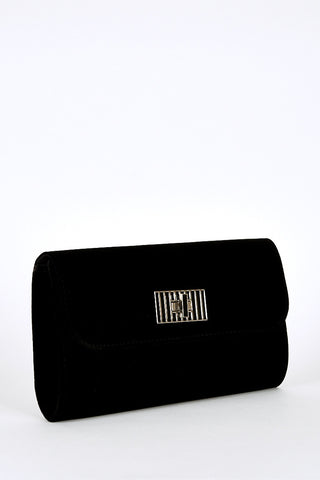 Twist Clasp Clutch Bag In Black-Black