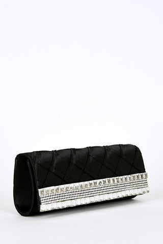 Geometric Design Flap Clutch Bag -Silver