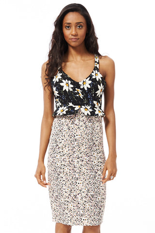 Flower Print Bodycon Midi Dress-Pink-Large - UK (12-14)