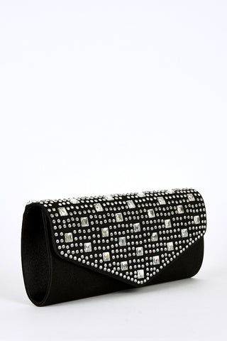 Diamante And Glass Detail Clutch Bag-Pink