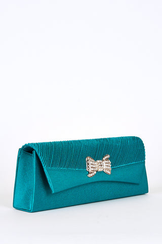 Pleated Top Panel Diamante Bow Detail Clutch Bag -Pink