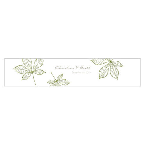 Autumn Leaf Water Bottle Label Willow Green