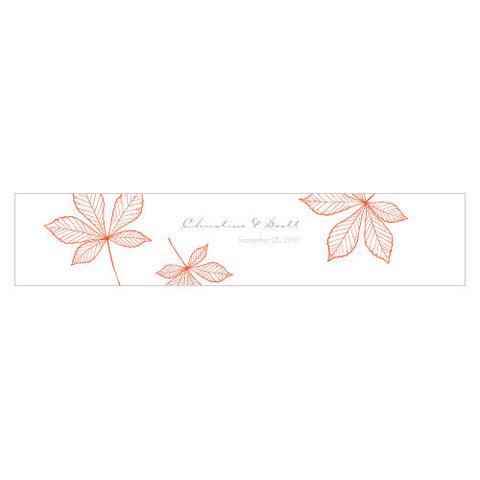 Autumn Leaf Water Bottle Label Tangerine Orange
