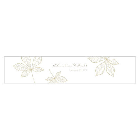 Autumn Leaf Water Bottle Label Sandy Grey