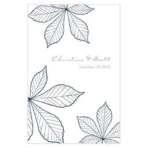 Autumn Leaf Wine Label Navy Blue