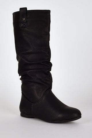 Black Slouchy Stud Detail Calf Boots-Black-UK 8 - EU 41