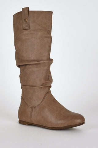 Brown Slouchy Stud Detail Calf Boots-Brown-UK 7 - EU 40