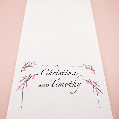 Cherry Blossom Personalized Aisle Runner White With Hearts Pastel Pink