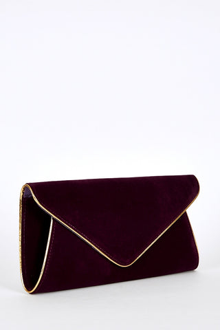 Contrast Gold Trim Envelope Clutch Bag-Brown