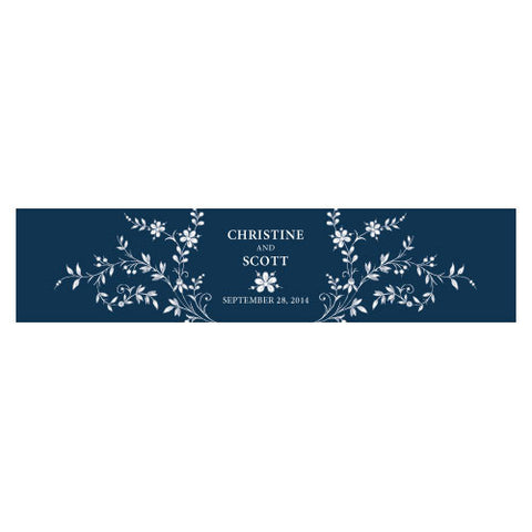 Forget Me Not Water Bottle Label Navy Blue