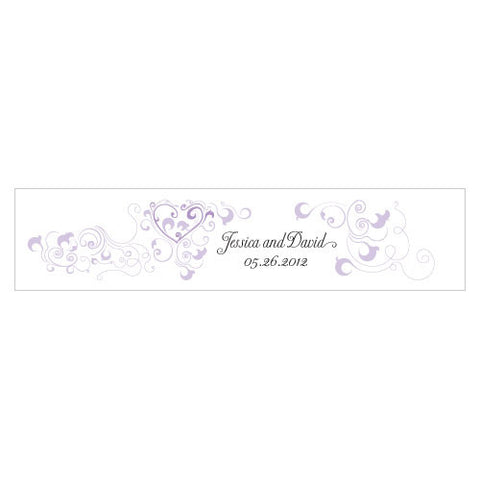 Heart Filigree Water Bottle Label Lavender