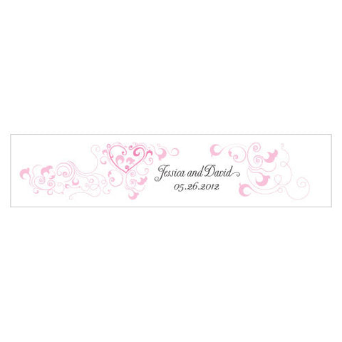 Heart Filigree Water Bottle Label Dark Pink