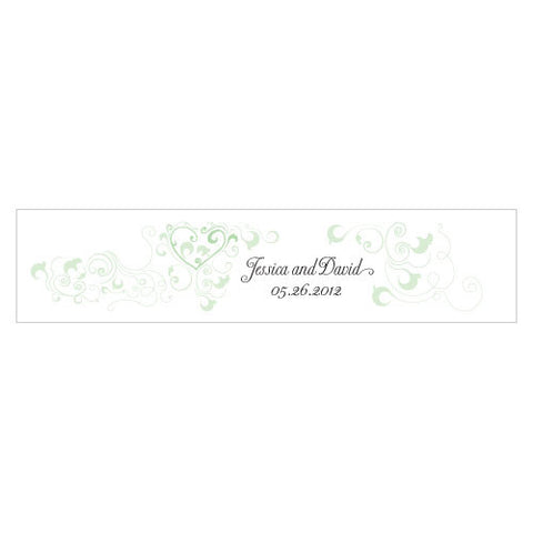 Heart Filigree Water Bottle Label Daiquiri Green