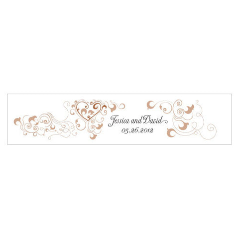 Heart Filigree Water Bottle Label Pecan Brown