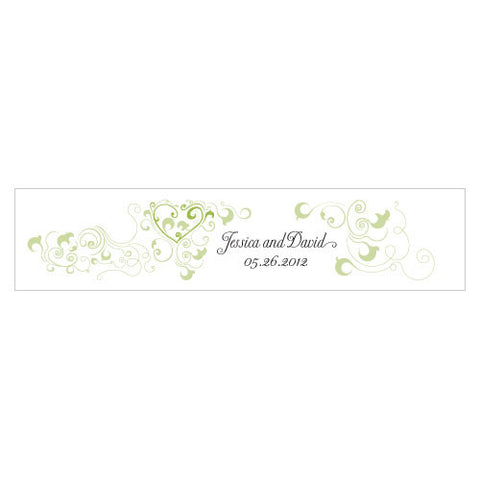 Heart Filigree Water Bottle Label Grass Green