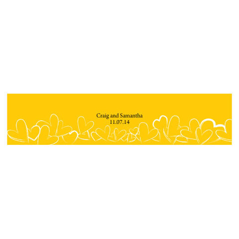 Contemporary Hearts Water Bottle Label Saffron Yellow