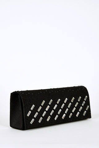 Black Rhinestone Detail Clutch Bag-Black