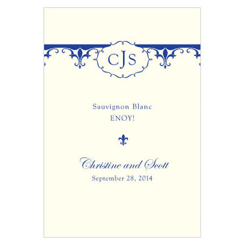 Fleur De Lis Wine Label Royal Blue