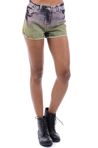 Dip Dye Denim Shorts-Denim-UK 14 - EU 42