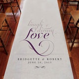 Expressions Personalized Aisle Runner White With Hearts Peacock Green