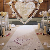 Expressions Personalized Aisle Runner White With Hearts Vintage Pink