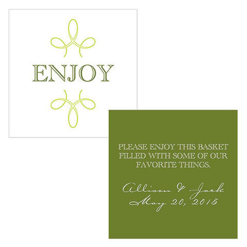enjoy, thank you, favor, favors, place cards, guests, gifts, tags, stationary, green, willow green