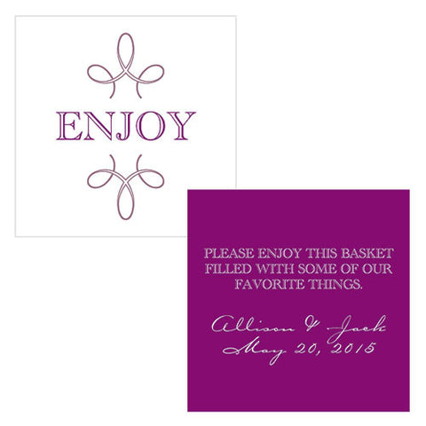 enjoy, thank you, favor, favors, place cards, guests, gifts, tags, stationary, purple
