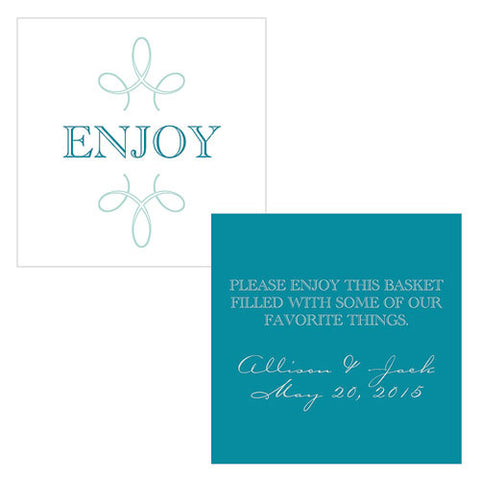 enjoy, thank you, favor, favors, place cards, guests, gifts, tags, stationary, blue, oasis blue