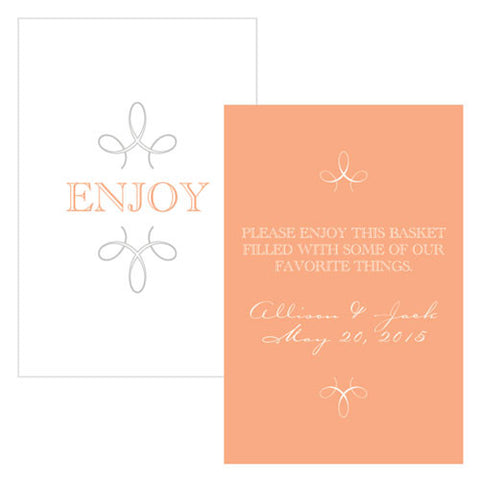 enjoy, thank you, favor, favors, place cards, self-standing, guests, invitations, stationary, tent card, peach