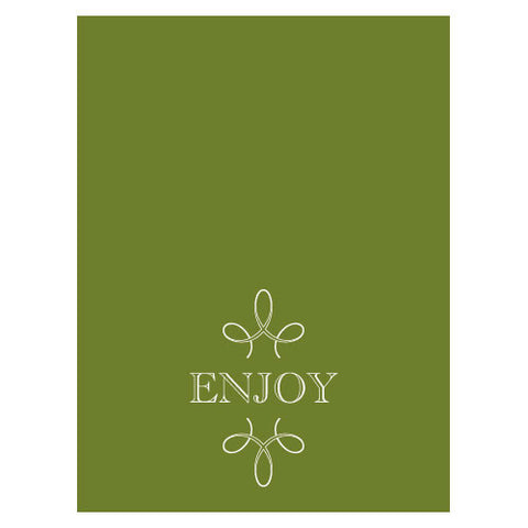 enjoy, thank you, favor, favors, place cards, self-standing, guests, invitations, stationary, tent card, green