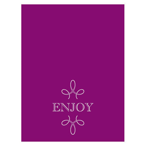 enjoy, thank you, favor, favors, place cards, self-standing, guests, invitations, stationary, tent card, purple