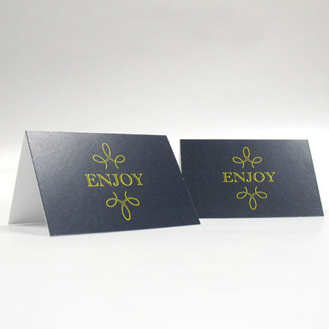 enjoy, thank you, favor, favors, place cards, self-standing, guests, invitations, stationary, tent card, blue, navy blue