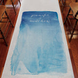 Aqueous Personalized Aisle Runner White With Hearts Caribbean Blue